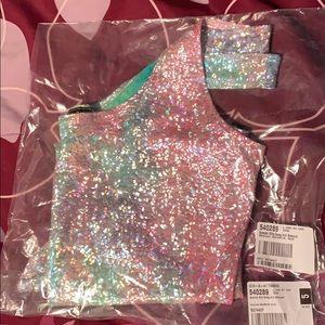 Dolls Kill Sparkle Killa Rainbow Swag Bodysuit